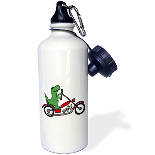 Motorcycle Bottle Water (3dRose wb_201819_1 Fun Green T-Rex Dinosaur Riding A Red Motorcycle Sports Water Bottle, Multicolor, 21 oz)