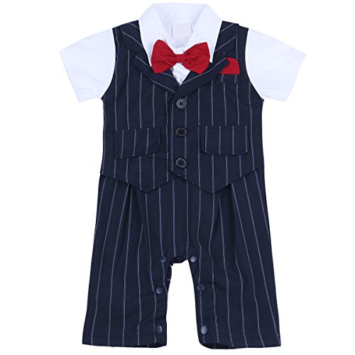 (Agoky Infant Baby Boys 2pcs Formal Gentleman Outfit Bowite Tuxedo Romper Suit Sets Navy (Striped) 6-9 Months )