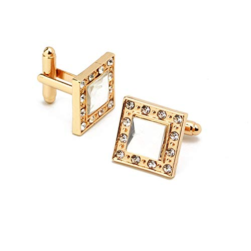 Men's Fashion Rhinestone & Crystal Detail Gold-Tone Cuff-Links, ()