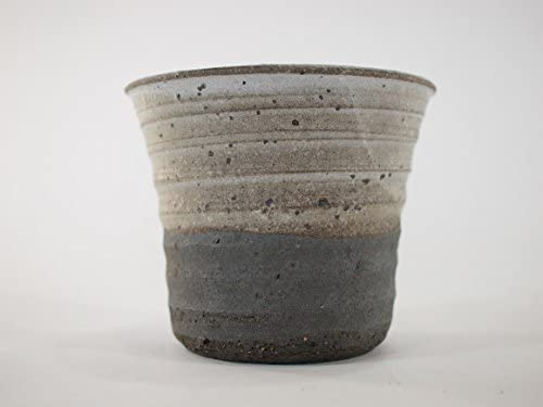 盆栽妙 信楽焼 盆栽鉢 4号 白釉掛分ソリ深 鉢幅11cm×高さ9cm 陶器製 植え替えキット付き 30727A1377
