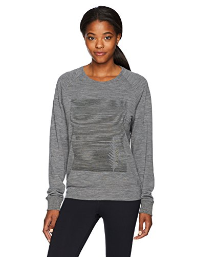 - Icebreaker Merino Women's Zoya Long Sleeve Crewe, Gritstone Heather, Small