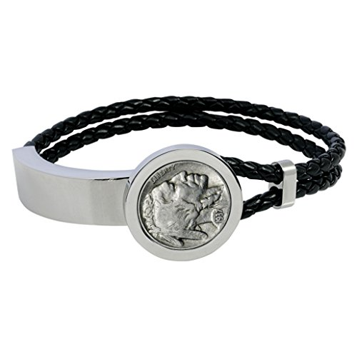 Buffalo Nickel Stainless Steel and Leather Men's Coin Bracelet (Coin Leather Bracelet)