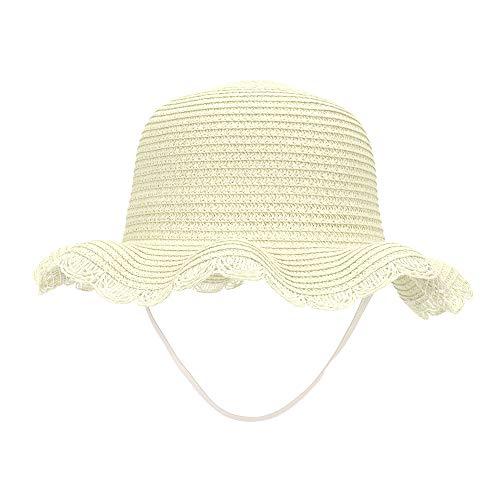 MK MATT KEELY Girls Sun hat Toddler Kids Beach Straw Shade Cap UPF 50+ Visor Beige