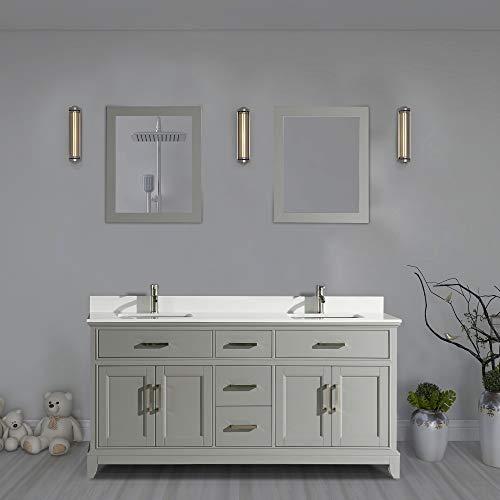 Vanity Art 72 Inch Double Sink Bathroom Vanity Set | Super White -