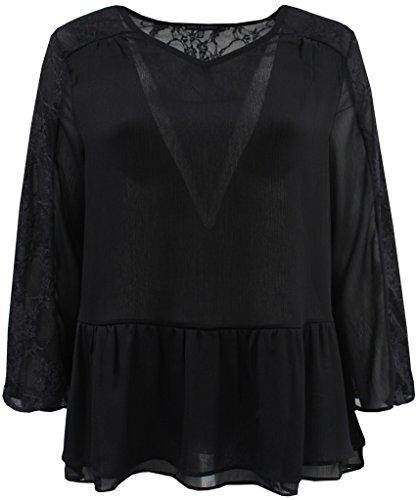 Plus Size Women's 3/4 Sleeve Chiffon Lace Fashion T Shirt Top Blouse Clothing Black 2X (16.029)