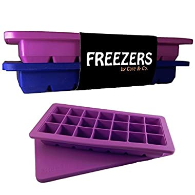 Easy Release Silicone Ice Cube Trays with Lid, Set of 2, 21 Cubes Each,  FREEZERS 2.0 , Minimal Dilution!