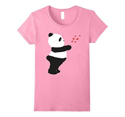 Womens Panda - Cute Panda Sending Kisses - Valentine's Day T-shirt Small Pink
