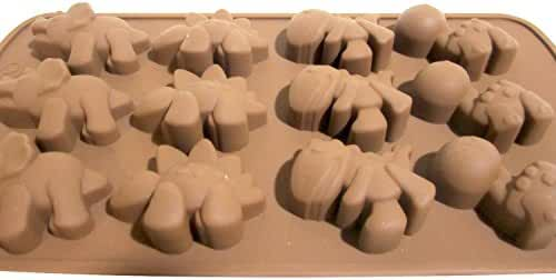 1 X Dinosaur Silicone Baking Non-stick Flexible Mold Muffin Pan Ice Tray, 12 Dinosaurs Chocolate Brown