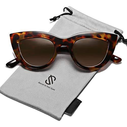 SOJOS Retro Vintage Cateye Sunglasses for Women Plastic Frame Mirrored Lens SJ2939 with Tortoise Frame/Brown ()
