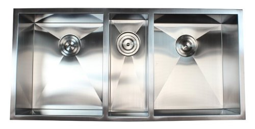 42 Inch 16 Gauge Stainless Steel Undermount Zero Radius Triple Bowl Kitchen Sink 16 Gauge by eModernDecor Inc.