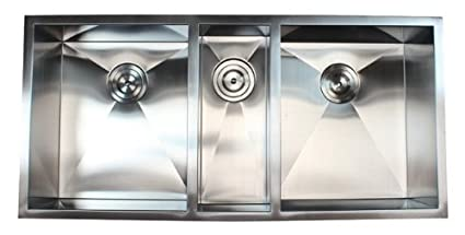 42 Inch 16 Gauge Stainless Steel Undermount Zero Radius Triple Bowl Kitchen  Sink 16 Gauge