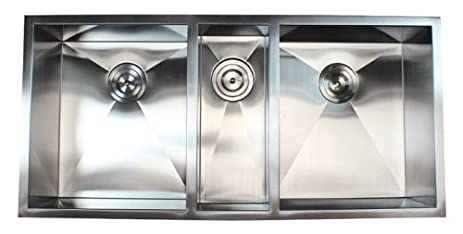 42 inch 16 gauge stainless steel undermount zero radius triple bowl kitchen sink 16 gauge 42 inch 16 gauge stainless steel undermount zero radius triple      rh   amazon com