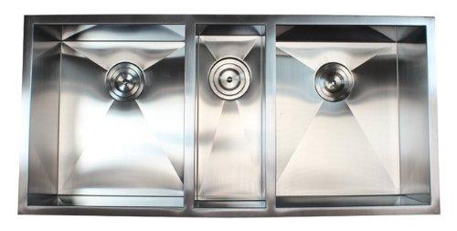 42 Inch 16 Gauge Stainless Steel Undermount Zero Radius Triple Bowl Kitchen Sink 16 Gauge