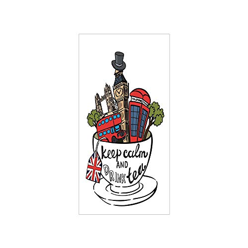 3D Decorative Film Privacy Window Film No Glue,Tea Party,Great Britain and London Culture Landmarks Icon Set in Tea Cup with Popular Quote Decorative,Multicolor,for -