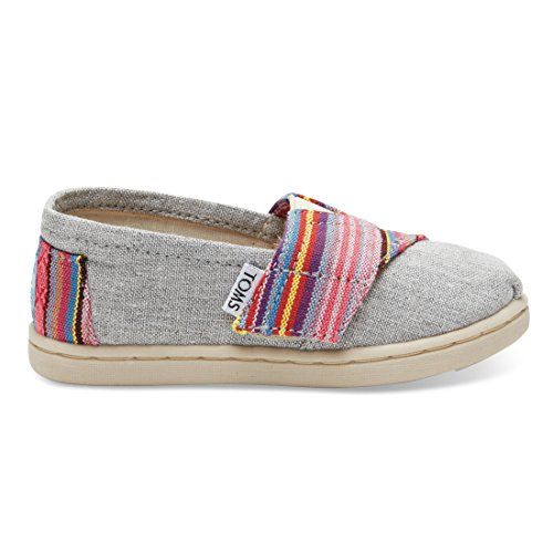 Toms Tiny Classics Slip-On Light Grey Chambray with Pink Woven Size 8 M US Toddler