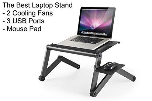 Uncaged Ergonomics WorkEZ Soporte de enfriamiento y de altura/ángulo ajustable para Laptop/Notebook con puertos USB,...