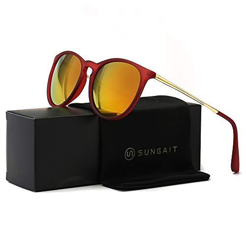 (SUNGAIT Vintage Round Sunglasses for Women Girl Classic Retro Designer Style (Red Frame/Tangerine Lens) 1567 HOKJH)