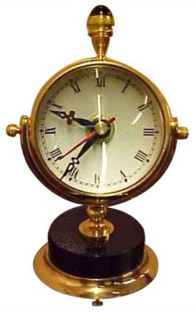 Antique Gifts Moon Marble Clock Designer Marine Table Decorative Brass Clock Nautical Classic Gift