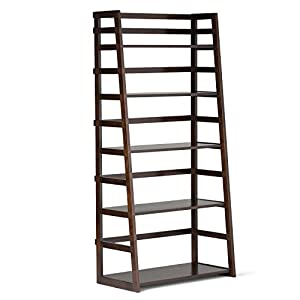 Simpli Home Acadian Solid Wood Ladder Shelf Bookcase, Rich Tobacco Brown