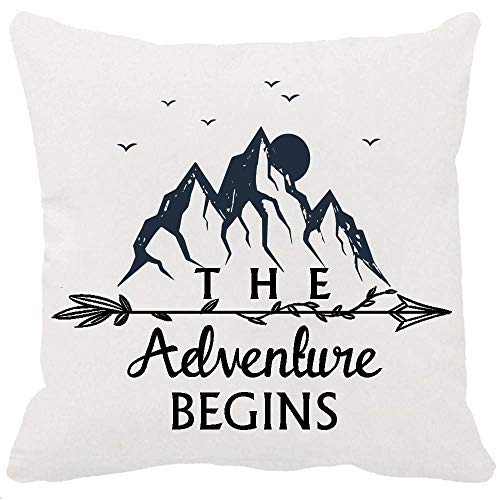 YFYMG Two Sided Printing Best Gifts Nordic Explorer Quotes The Adventure Begins Travel The World Forest Pine Tree New Home Decorative Soft Cotton Throw Cushion Cover Pillow Case Square 18 - Cherry Bed Sided 2