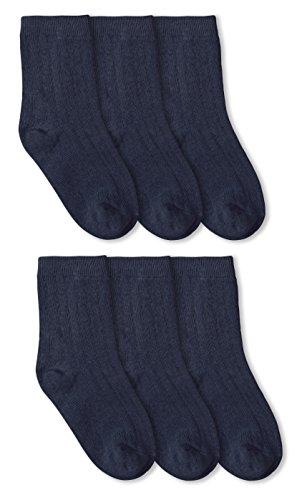 Jefferies Socks Rib Crew Socks 6 Pack (Large - USA Shoe 6-9 - Age 10-Adult, Navy) (Rib Dress Classic Sock)