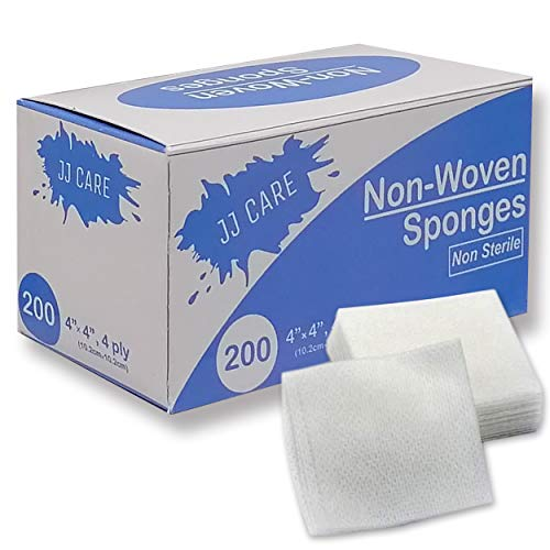 [Pack of 1] Non Woven Gauze Sponge 4x4 inches, 4-Ply Non-sterile, Medical, Dental, Facial Wipes - Esthetic Supplies, Spa Essentials Pads - 200 Count Per Box from JJ CARE