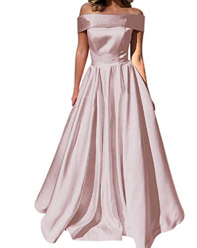 YuNuo Prom Dresses Off The Shoulder Evening Dresses Satin Beaded Party Dress A-Line Long with Pocket Formal Gown Blush Pink ()