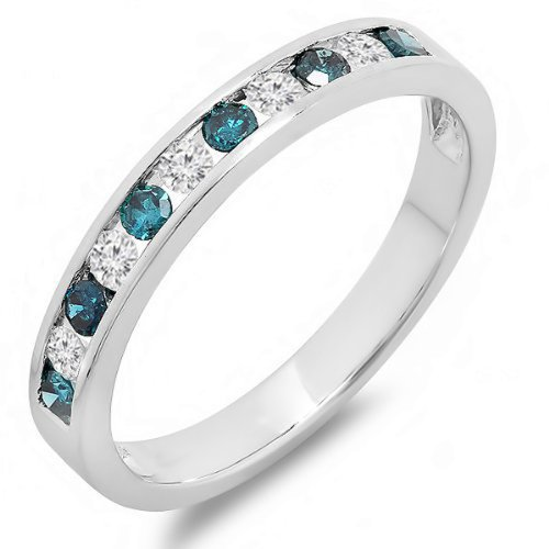 Dazzlingrock Collection 0.40 Carat (ctw) 10K White & Blue Diamond Ladies Anniversary Wedding Band, White Gold, Size 9