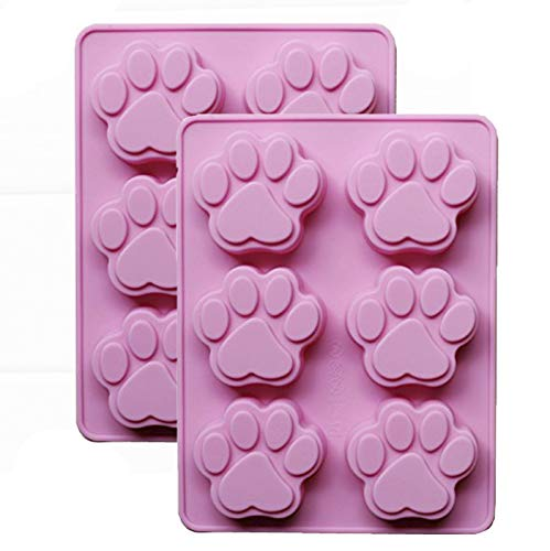 Cherion 2-Pack Cute Dog Paw Shaped Silicone Mini Soap Mold,Pudding Mold,Cake Mold,Silicone Chocolate Mold (6 Dog Paw2) -