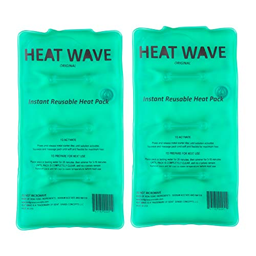 HEAT WAVE Instant Reusable Heat Pack - Medium 2-Pack Value-Pack - Premium Quality - Medical Grade - Made in USA