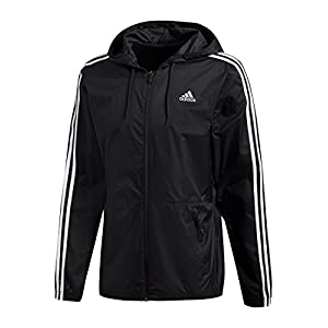 adidas Men's Essentials Wind Jacket, Black/Black/White, Medium