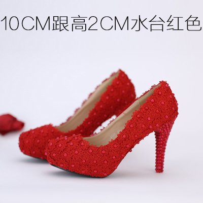 Pearl Shoes Flowers Red Shoes Toe Heeled Sandals Waterproof Color VIVIOO Wedding 4 White 10Cm Red Shoes Bridal Heel Pink High Lace Round Women'S Prom wXpHqPv