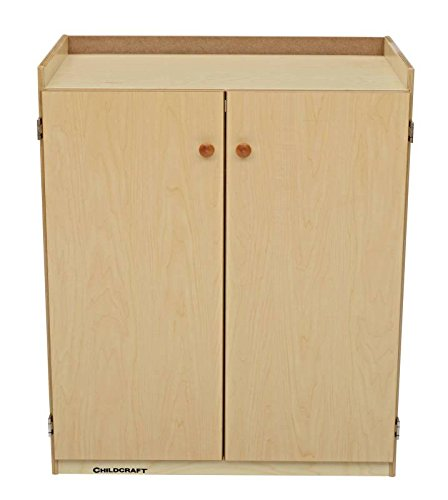 Childcraft 071856 Audio Visual Center, Birch, UV Acrylic, 3-Shelves, 36-3/4'' x 17'' x 30'', Natural Wood Tone