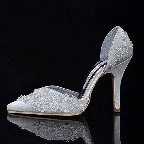Sposa colore Dimensione Prom Avorio Con 8 Tacco Donna Willsego Perline Raso Da Shoes Nuziale Cerimonia 5 Uk In Alto Mz581 CgvxqwU