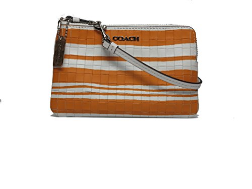 Coach COACH Bleecker Embossed Woven Leather Small Wristlet