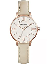 BRIGADA Elegant Beige Ladies Dress Quartz Wrist Watches for Women Girls Nice Fashion Swiss Brand Women' Watch Waterproof