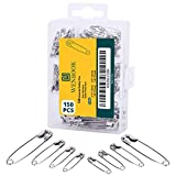 Premium 4-Size Pack of 150 Safety Pins - Nickel