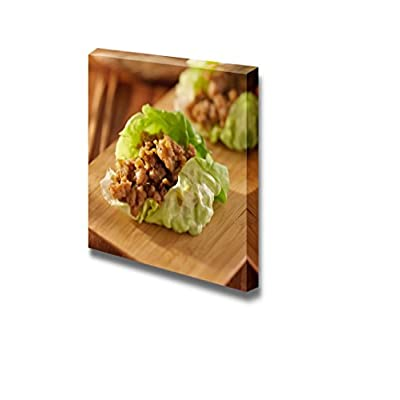 Canvas Prints Wall Art - Food Closeup Asian Lettuce Wrap with Minced Chicken and Seasonings | Modern Wall Decor/Home Art Stretched Gallery Canvas Wraps Giclee Print & Ready to Hang - 12