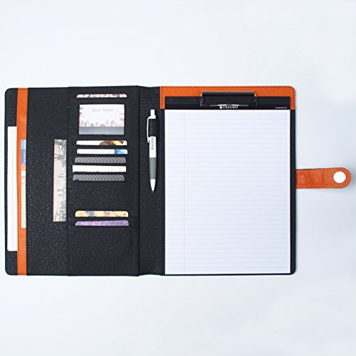AHZOA 11 Pockets A4 Size Memo Padfolio S6 with Mechanical Pencil, Including 8.27 X 11.7 Inch Legal Writing Pad, Magnetic Button Style, Synthetic Leather 10.24 X 12.6 Inch Notepad Clipboard (Black)