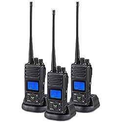 SAMCOM 2 Way Radio 5 Watt Long Range, 20 Channels Walkie Talkie,Rechargeable Hand-held UHF Business Radio for Outdoor Hiking Hunting Travel,3 Packs
