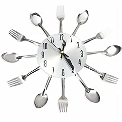 Promotion! 3D Wall Clock Stainless Steel Knife Fork Modern Design Large Kitchen Wall Watch Clocks Quartz For Home Office Decor
