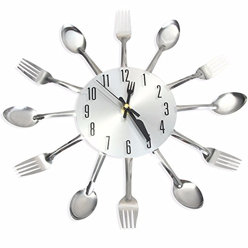 Promotion! 3D Wall Clock Stainless Steel Knife Fork
