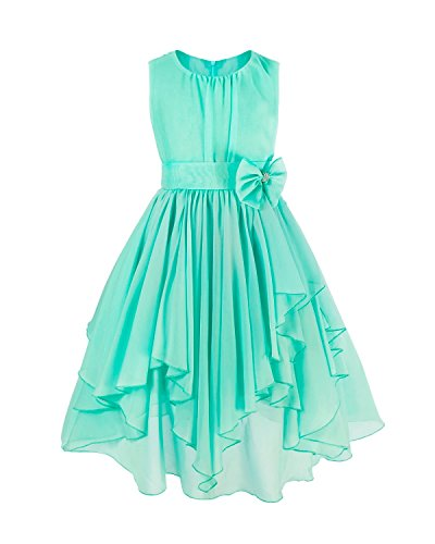FEESHOW Kids Big Girl Asymmetric Chiffon Flower Wedding Bridesmaid Party Dress Turquoise 8]()