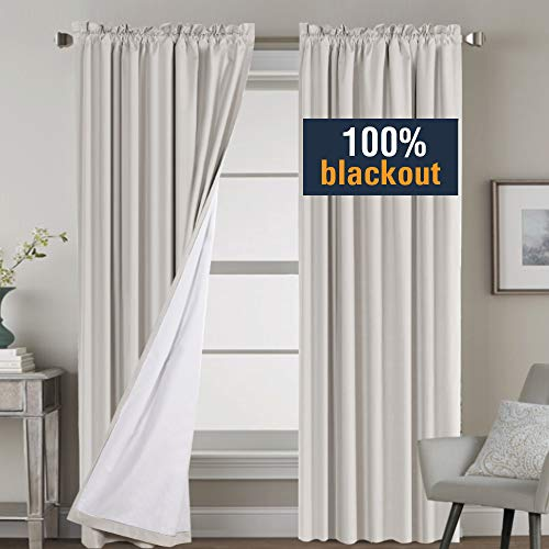 - H.VERSAILTEX Complete Blackout Shades for Large Window Door, 100% Blackout Window Curtain Panels with White Lined, Rod Pocket Curtains for Bedroom 96 Inch Length, Natural, 2 Panels, Tiebacks Included