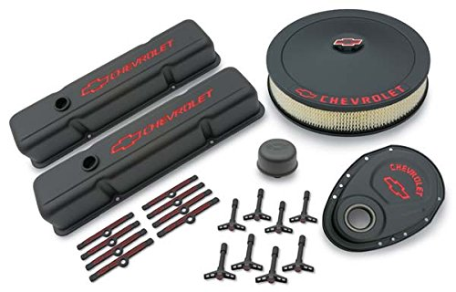 Proform 141-758 Black Crinkle Engine Dress-Up Kit with Red Chevrolet/Bowtie Logo for Small Block Chevy