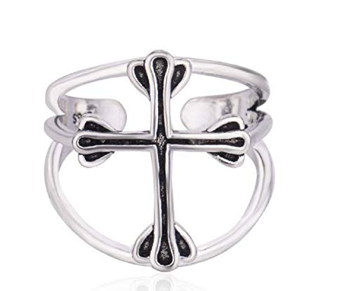 Weishu Simple Personality 925 Sterling Silver Opening Ring Retro Cross Ring Christian holy Cross Prayer Ring Catholic Religious Ladies Ring