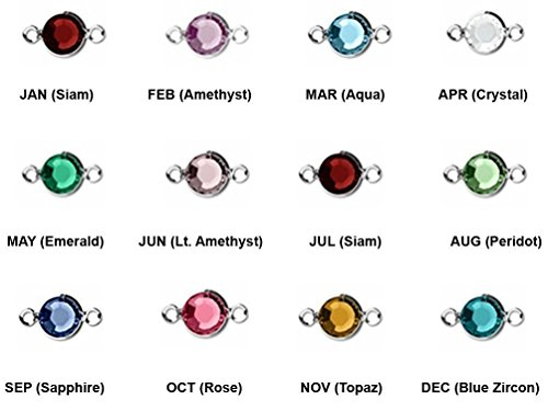 (60pc Set of Genuine SWAROVSKI 15mm Long Birthstone Channel Connectors Silver Plated)