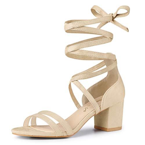 Allegra K Women's Open Toe Lace Up Color Block Heel Beige Sandals - 7 M US