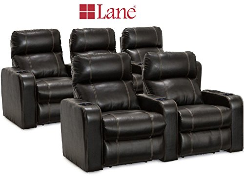 Lane Dynasty Black Bonded Leather Home Theater Seating 1 Row (Large Image)