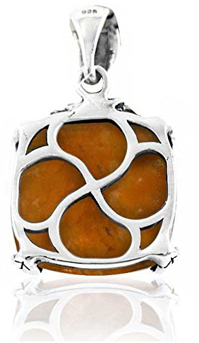BTS-NP9907//AMB BillyTheTree Gemstone Jewelry Sterling Silver Pendant with Cushion Amber Stone